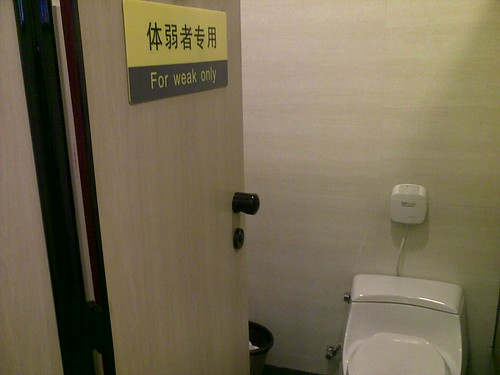 """Chinglish: Toilet Seats in China are """"for weak only"""""""