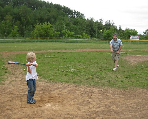 Owen Gets a Basehit Off My Brother
