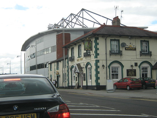 The outside of the Mold Road Stand (and pub)