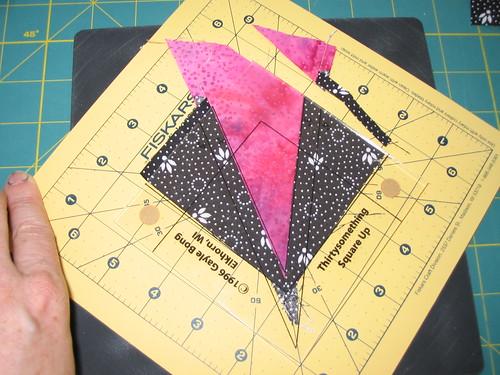 Trimming block with ruler (on my favorite Fiskars rotating cutting mat)