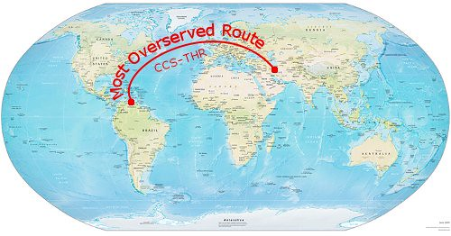 Most Overserved Route - Caracas to Tehran