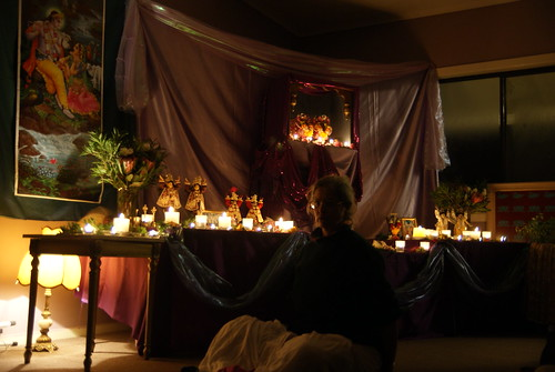 The altar setup in the evening
