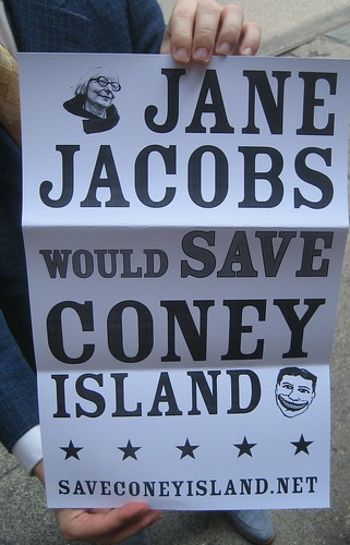 Save Coney Poster of the Day: Jane Jacobs Would Save Coney Island. Photo © Tricia Vita/me-myself-i via flickr
