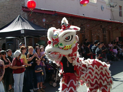 red lion dancers