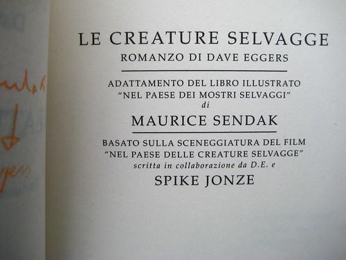 Dave Eggers, Le creature selvagge, Mondadori 2009, p. 5 (part.)