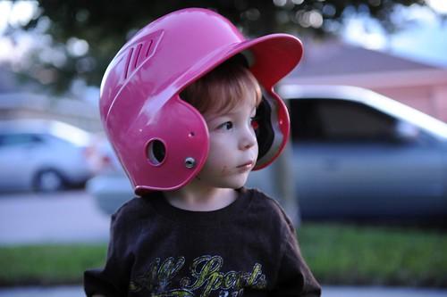 269/365: wearing his sis' helmet