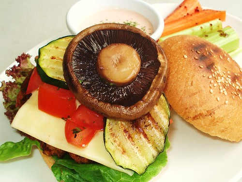 Sloppy Portobello Veggie Burger in all its nekkid glory