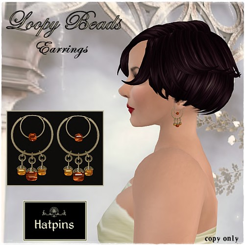Hatpins - Loopy Coppery Beads Earrings Advert