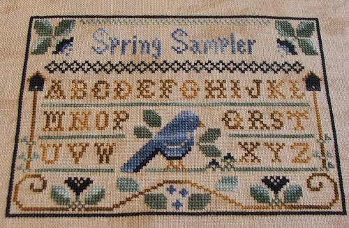 Completed Spring Sampler / Little House Needleworks