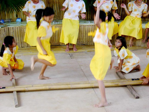 The villagers performing tinikling