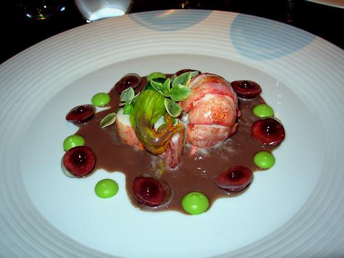 Lobster, bing cherry, sweet pea, chocolate
