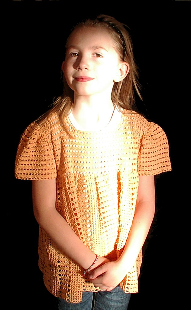 image 3 orange crochet shirt