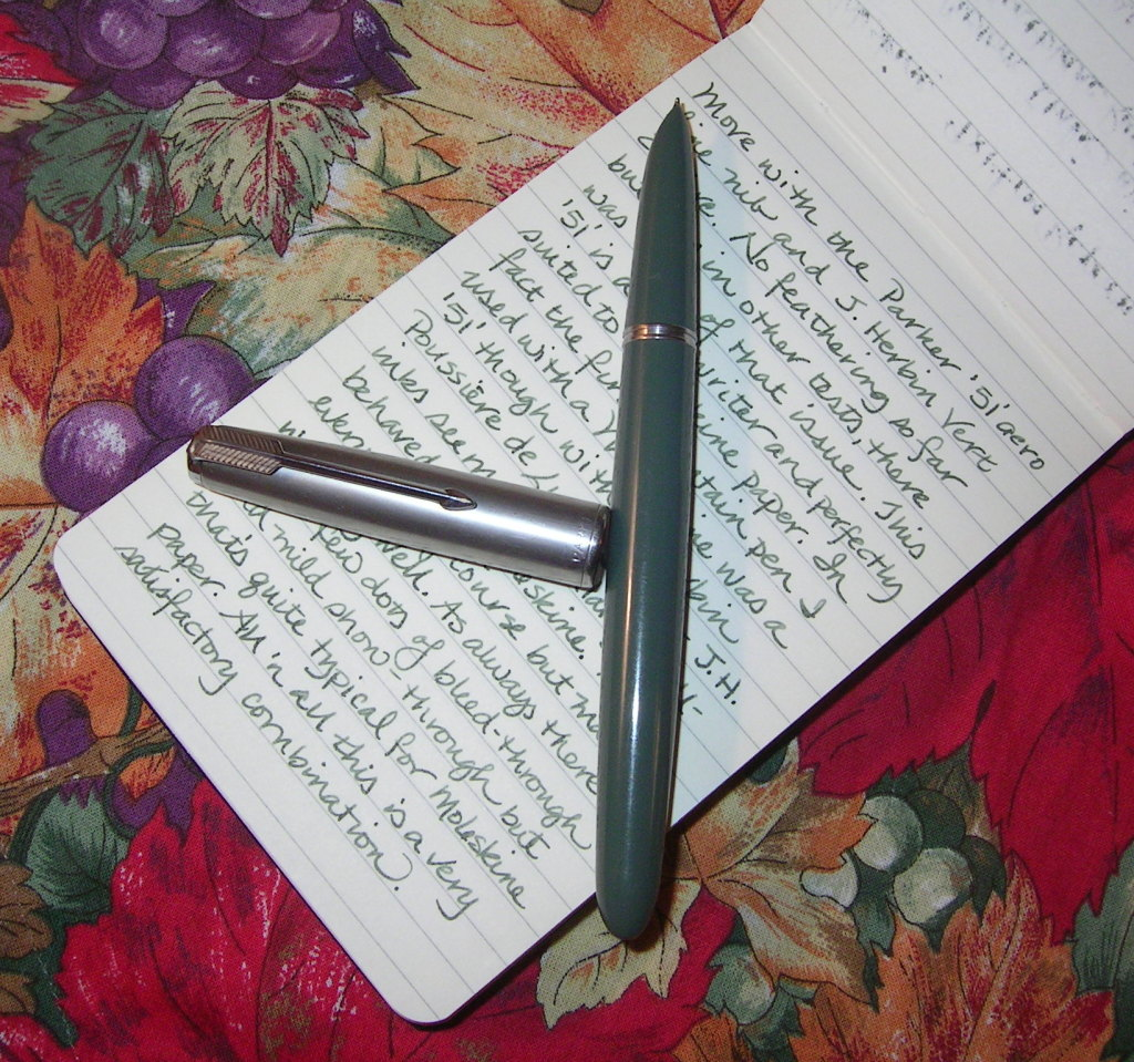 Moleskine, a Parker '51' and Herbin Vert Empire