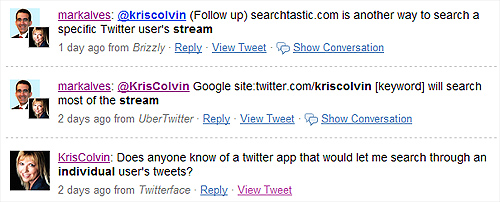 Twitter Conversation About Searching an Individuals Tweets