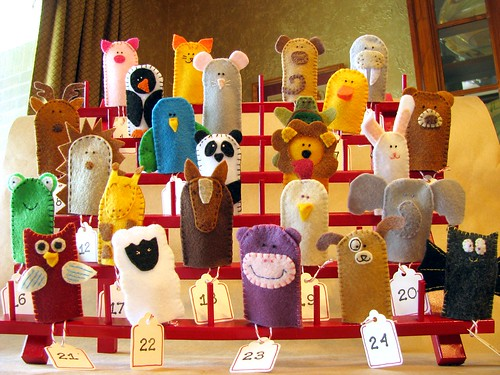 Completed Finger Puppet Advent Calendar
