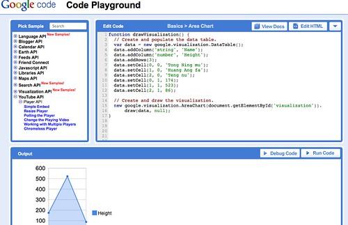 Google code playground http://code.google.com/apis/ajax/playground/