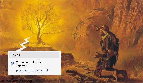 Moses talks to God through a fiery bush
