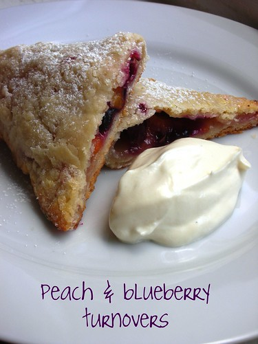 flaky peach and blueberry turnovers