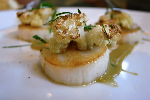 Sea Scallops, Caramelized Cauliflower,Caper-raisin Emilsion