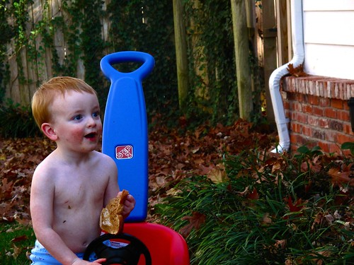 Watching daddy blow the leaves everywhere