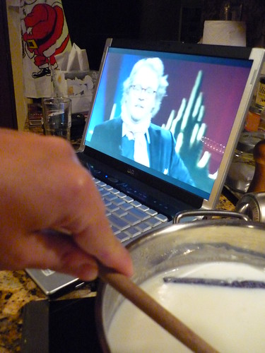 Making rice pudding while watching Swedish telly on the internet