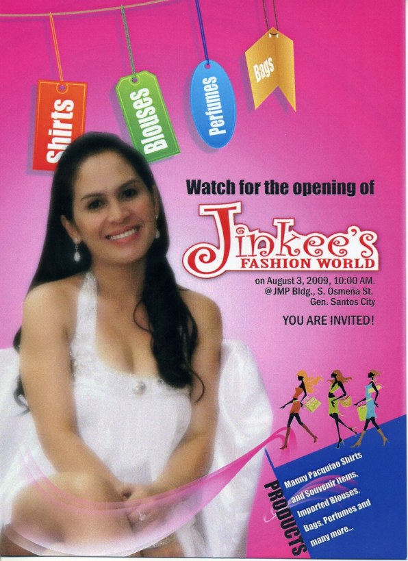 The invitation card to Jinkees Fashion World opening