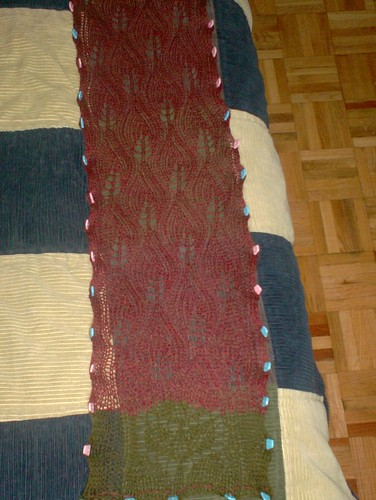 Autumn Leaves Scarf - Blocking