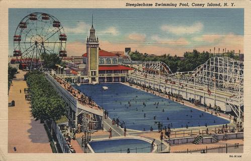 Steeplechase swimming pool Coney Island NY. Vintage Postcard via amhpics flickr