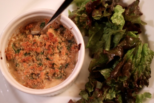 crab gratin, in various states of completion
