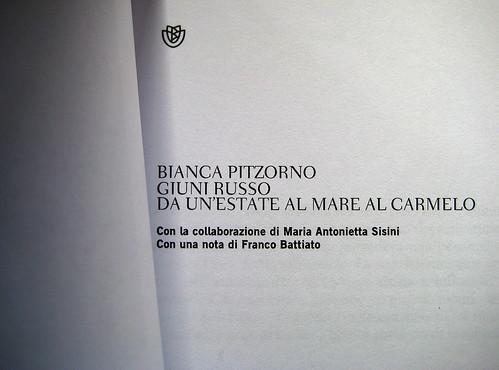 Giuni Russo. Da un'estate al mare al Carmelo, di Bianca Pitzorno; Bompiani 2009. frontespizio (part.)