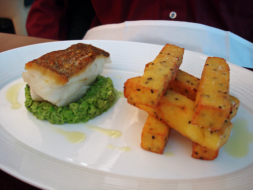 Roasted Cod, Polenta Chips, Peas