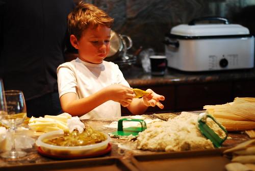 Conrad learning to make tamales