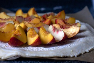 nectarines, ground almonds