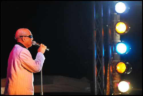 "Jimmy Carter of the Blind Boys of Alabama starts singing ""Spirit in the Sky"" to close the third annual Roots N Blues N BBQ Festival on Saturday, Sept. 26, 2009, at the Peace Park stage. Carter has led the Grammy-winning gospel band since its formation in 1939 in Talladega, Ala."