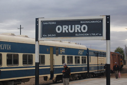 At the train station in Oruro, Bolivia