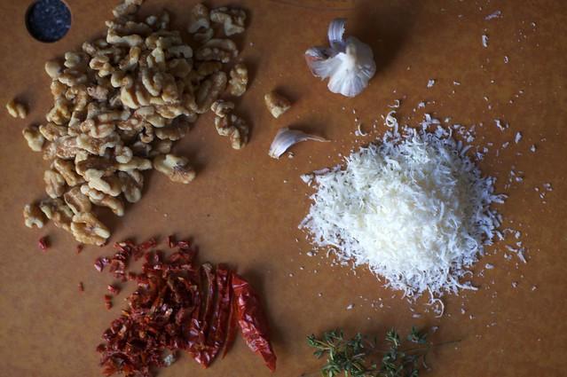 walnuts, garlic, parmesan, thyme...