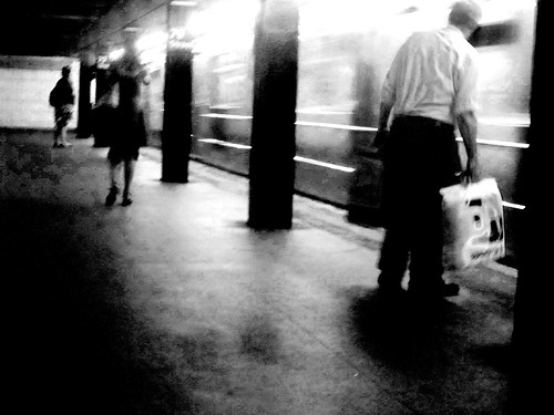 DAY 696: PINK BAG SUBWAY B&W