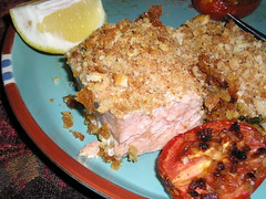 Salmon with crumb topping