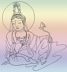 Bodhisattva Kuan Yin at ease with Lotus flower © Marcelle Hanselaar