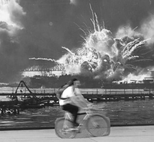 Bike messenger on Pearl Harbor Day