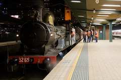 3265 undergoing the first of her steam trails on the mainline, seen here at Sydney Terminal.