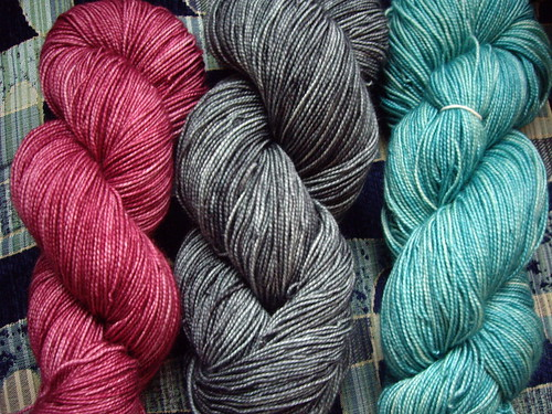 Datura Sock Yarns in Mauve, Grey and Aqua. Prize yarn is either the Mauve or Grey. Winners choice.