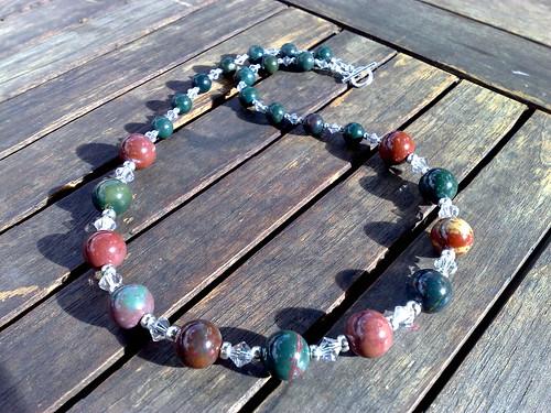 Indian bloodstone and swarovski crytal necklace