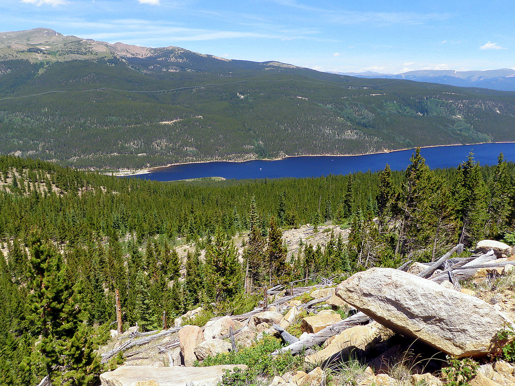 Looking down on Turquoise Lake and May Queen Campground.