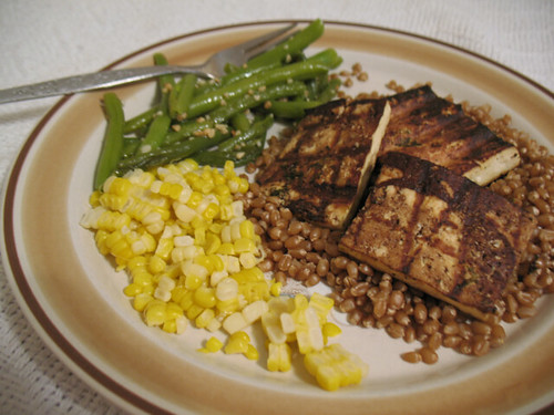 Tofu & wheat berries & veggies, oh my!