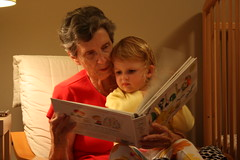 Grandma Judy reading to Claire