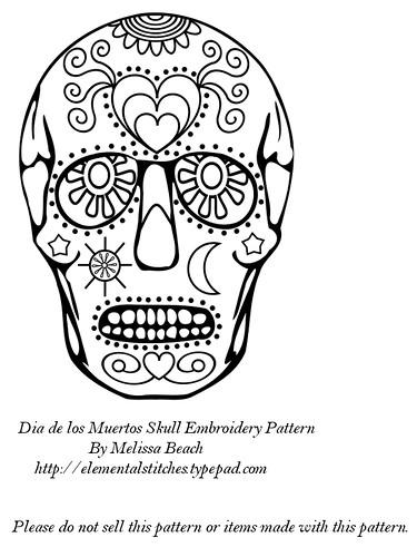 Free Dia De Los Muertos Sugar Skull Embroidery Pattern