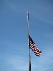 Flag at half mast, Laguna Beach, California, M...