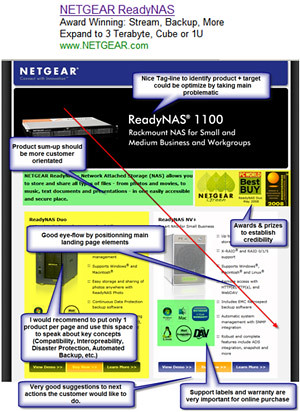 "Well-designed Netgear.com PPC landing page focusing on generating product awareness and including various call-to-action: Flash Demo, ""More details"" or purchase (""Buy Now). The comparison spreadsheet behind the four quick product presentations is very efficient to drive user to the right item."