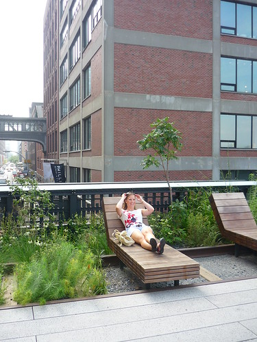 Enjoying the sunbeds at High Line Park